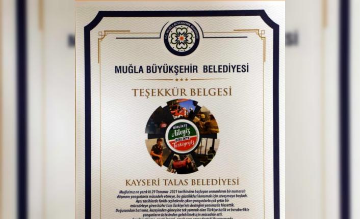Muğla Belediyesi'nden Talas'a 'Yangına Müdahale' Teşekkürü