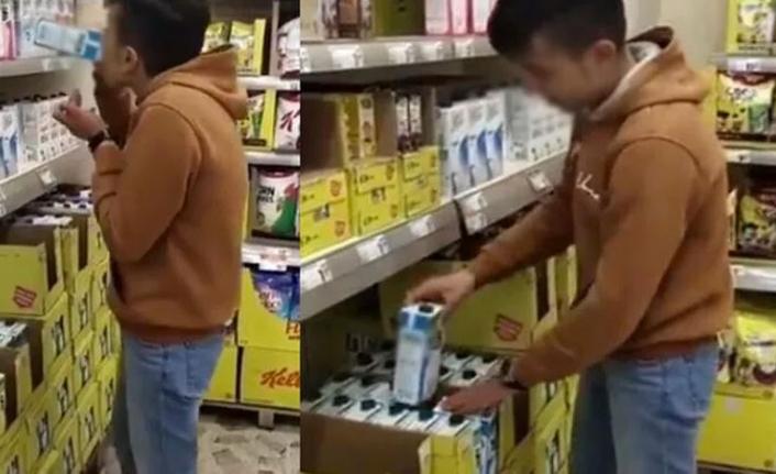 Raflardaki Sütü İçip Yerine Koymuştu! Yakalandı!