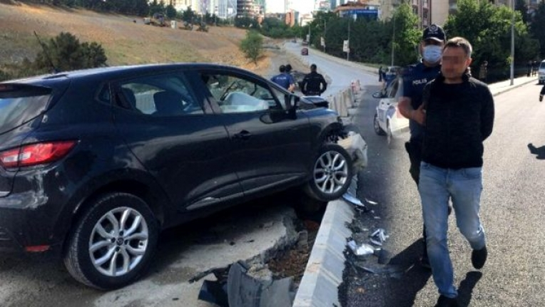 Kısıtlama Gününde Alkollü Araç Kullanan Taciz Şüphelisi Kaza Yaptı