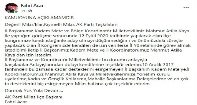 AK Parti Milas İlçe Başkanı Acar: Aday Olmayı Düşünmüyorum