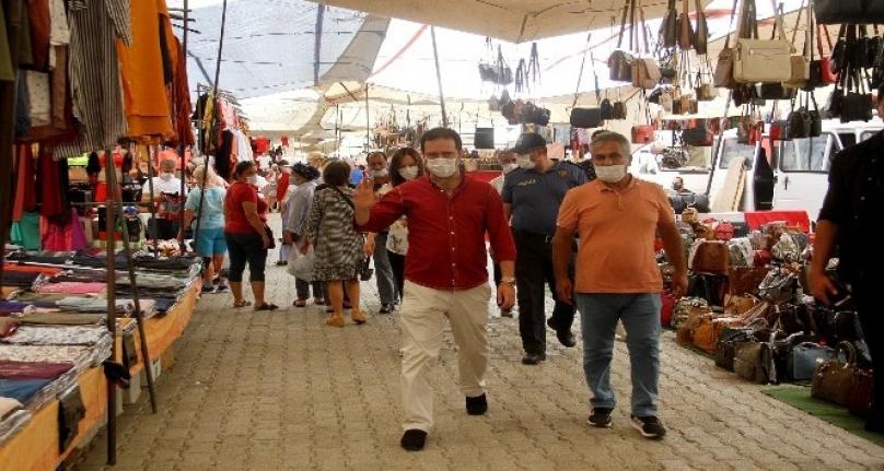 Fethiye'de Maske ve Sosyal Mesafe Kontrolü