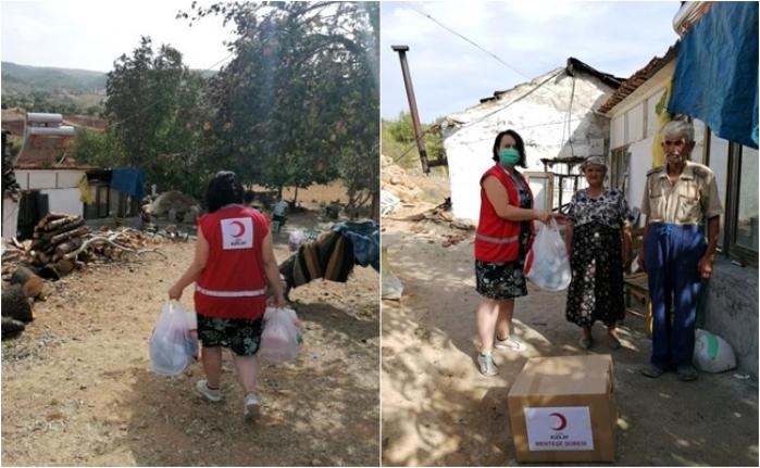 Muğla'da Evi Yanan Vatandaşa Kızılay'dan Elbise Yardımı