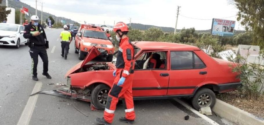 Muğla'da Kontrolden Çıkan Otomobil Takla Attı