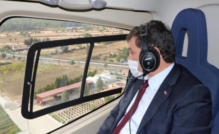 Muğla Valisi Orhan Tavlı Yanan Ormanlık Alanları Havadan İnceledi
