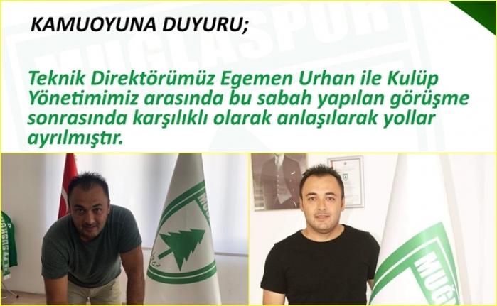Muğlaspor'da Teknik Direktör Egemen Urhan İle Yollar Ayrıldı!
