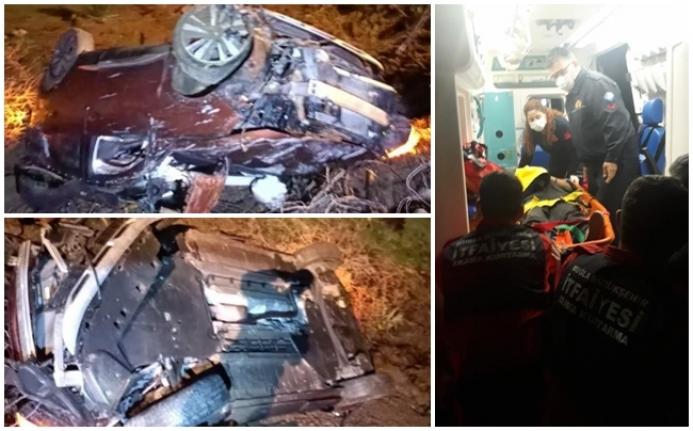 Fethiye'de, Otomobil Şarampole Devrildi: 3 Yaralı