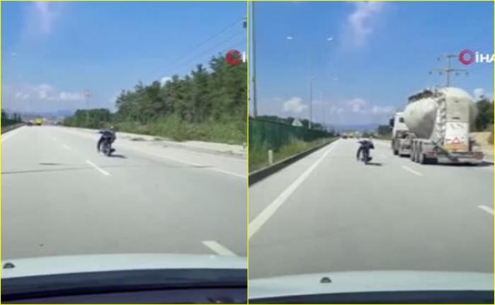Fethiye'de, Yatarak Tek Elle Motosiklet Kullanan Şahıs Kazaya Davetiye Çıkardı