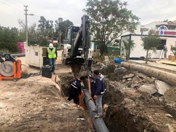 Bodrum Türkbükü'nde Kanalizasyon Hattı Yenileniyor