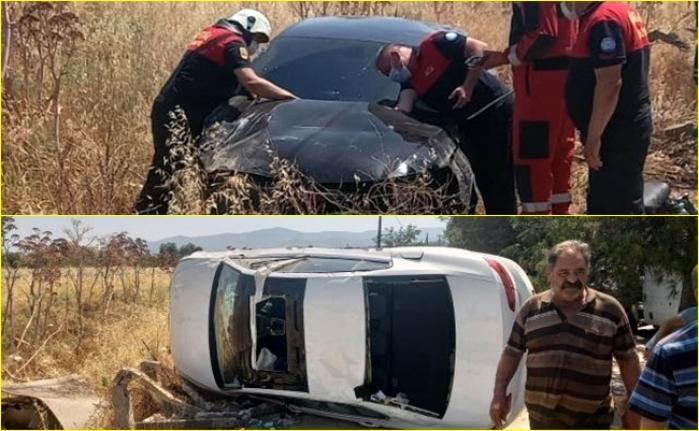 Milas'ta İki Otomobil Şarampole Devrildi: 3 Kişi Yaralandı