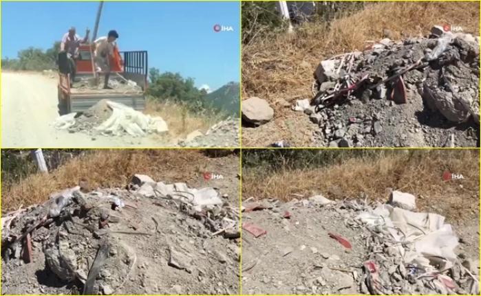 Bodrum'da Yol Kenarına Moloz Döken Şahıslar Vatandaşlar Tarafından Görüntülendi