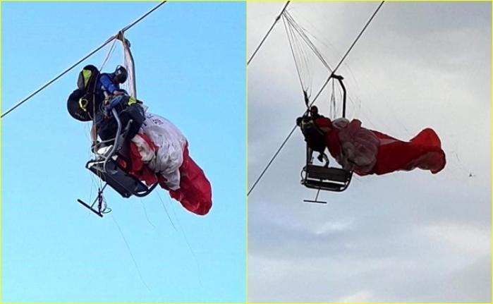 Fethiye'de Telesiyej Hattına Dolanan Paraşüt Pilotu ve Yolcusu Asılı Kaldı