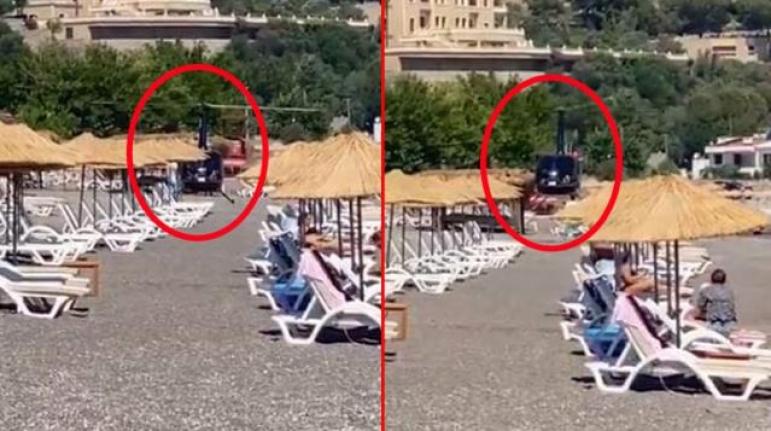 Marmaris'te İlginç Olay! Yemek Yemek İçin Halk Plajına Helikopterle İndiler