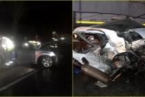 Kaza Eden Araç İkiye Ayrıldı Parçaları Önden Gelen Araca İsabet Etti!