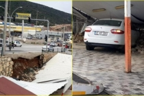 Bodrum'da İstinat Duvarı Otoparkın Üzerine Çöktü