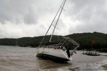 Muğla'da Etkili Olan Fırtına Tekneyi Karaya Sürükledi
