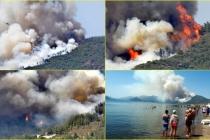 Marmaris'te Orman Yangını! Alevler Bir Anda Büyüdü, Ciğerlerimiz Yanıyor