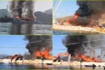 Marmaris'teki Bir Tersanede Çıkan Yangında 3 Tekne Küle Döndü