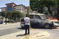 Menteşe'de Seyir Halindeki Otomobil Alev Aldı