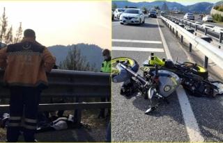 Marmaris'te Kontrolden Çıkan Motosiklet Refüje...