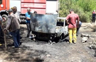 Milas'ta, Park Halindeki Araçta Başlayan Yangın...