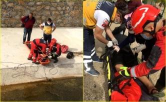 Fethiye'de Dereye Düşen Çocuğu İtfaiye Ekipleri Kurtardı
