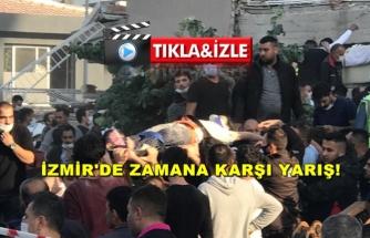 İZMİR'DE BİNALARIN YIKILMA ANI VE KURTARMA ÇALIŞMALARI KAMERALARA BÖYLE YANSIDI