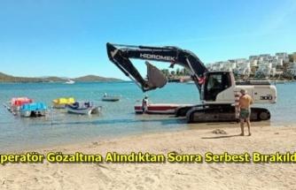 Bodrum'da İş Makinesi Mavi Bayraklı Plaja Girip Deniz Dibini Kazdı!