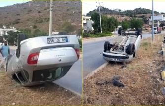 Bodrum'da Devrilen Otomobilin Sürücüsü Kazadan Yara Almadan Kurtuldu