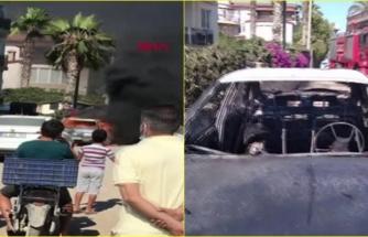 Fethiye'de Yanan Otomobili Patlama Riskine Rağmen Küçük Çocukların İzlemesi Dikkat Çekti