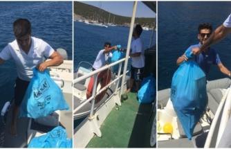 Bodrum'da Bayram Tatilinde Teknelerden 2 Bin Poşet Çöp Toplandı