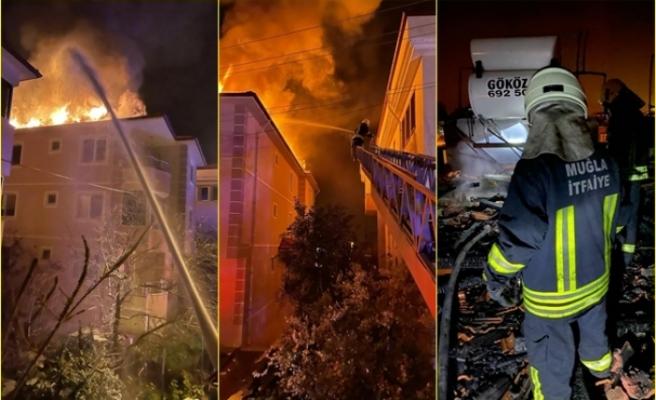 Dalaman'da Üç Katlı Evin Çatı Katında Çıkan Yangın Korkuttu