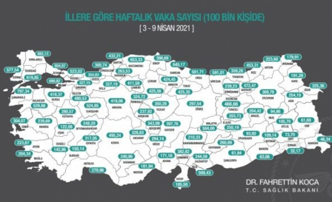 Sağlık Bakanı Koca İllere Göre Haftalık Vaka Sayılarını Paylaştı