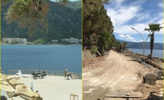Marmaris'te İnşaatı Devam Eden Beş Yıldızlı İçmeler Halk Plajı 11 Haziran'da Açılacak