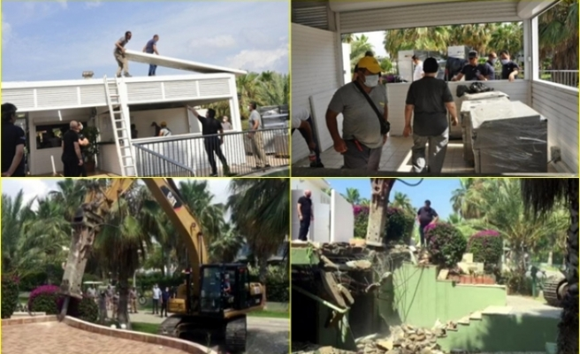 MUÇEV'in Antalya'da Kiraladığı Otelin Sahildeki Büfesindeki İmara Aykırı Bölüm Belediye Tarafından Yıkıldı