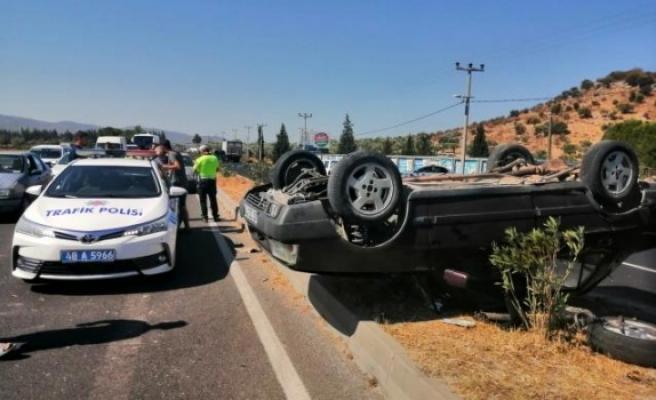 Milas'taki Otomobil Takla Atarak Durabildi