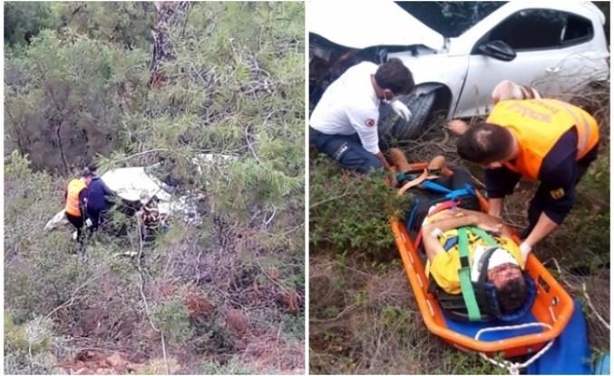 Fethiye'de Uçuruma Yuvarlanan Otomobilin Sürücüsü Kurtarıldı