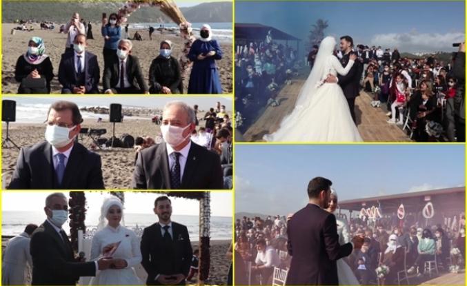 Başkan Karakuş'tan Oğluna, Koronavirüse Rağmen Kayacık Sahilinde Nikah Töreni