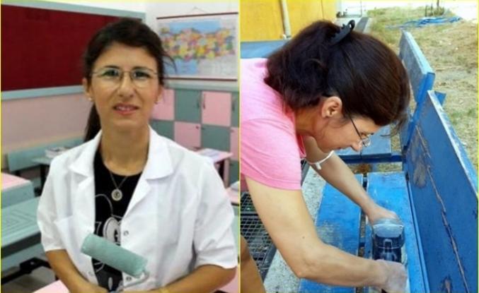 Dalaman'da Görev Yapan Derya Öğretmen, Sınıfındaki Sıraları Onarıp, Boyadı