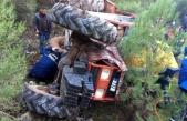 Menteşe'de Traktör Uçuruma Yuvarlandı