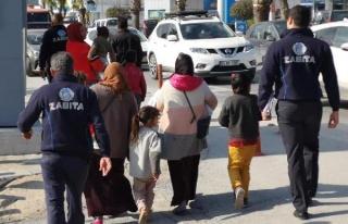 Bodrum'da dilencilik yapan 7'si çocuk 13 Suriyeli...