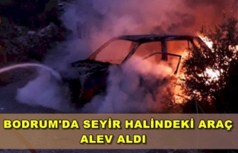 Bodrum'da Seyir Halindeki Araç Alev Aldı!