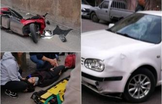 Elektrikli Bisiklet Otomobille Çarpıştı: 2 Yaralı!